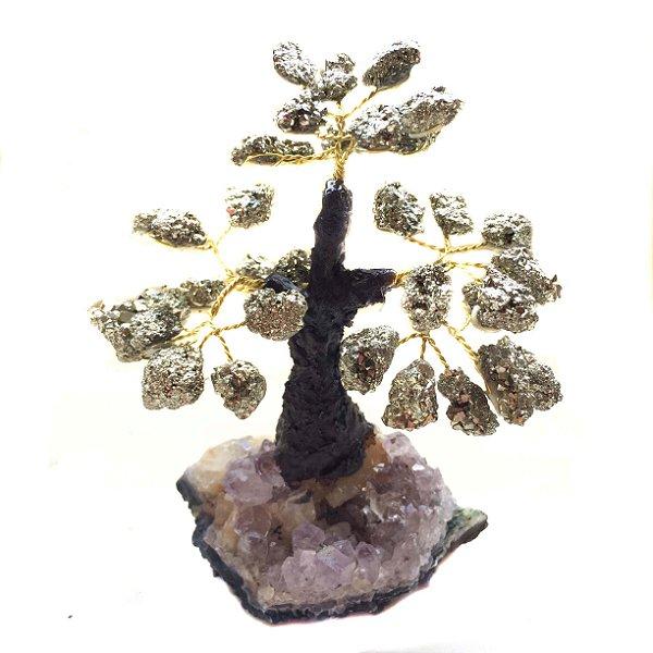 Árvore Pedras Base de Ametista e Folhas de Pirita 10cm
