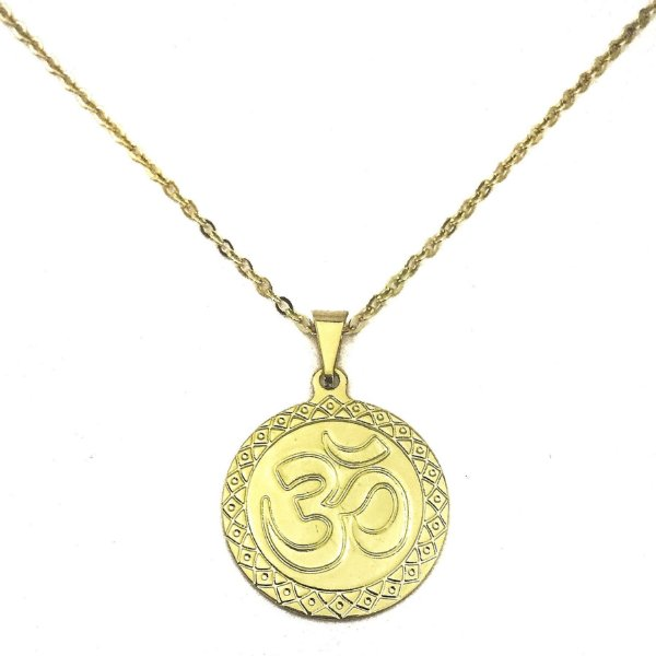 Colar Folheado Ouro Símbolo do OM - 630