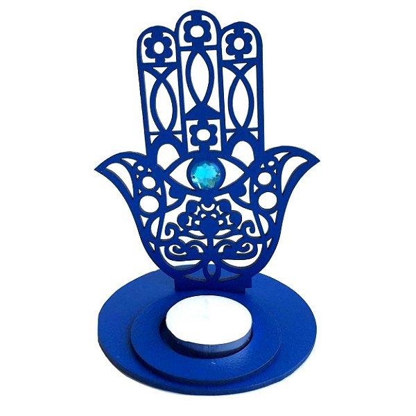 Porta Vela Castiçal Mão Hamsá Fátima Azul 15cm