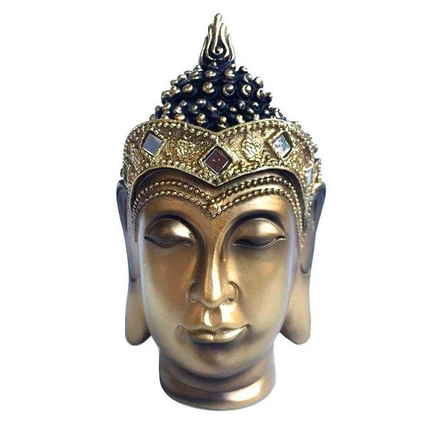 Estátua de Cabeça Buda Tibetano Dourado Escuro 15cm