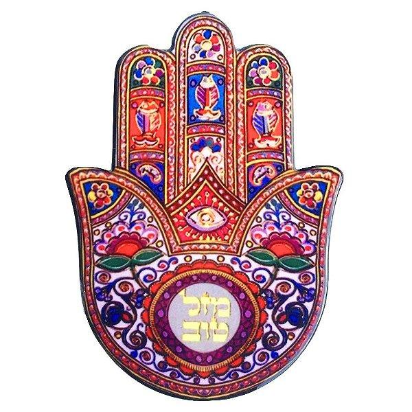 """Mão de Hamsá Cerâmica """"C"""" - Quadro Mesa ou Parede 14cm"""