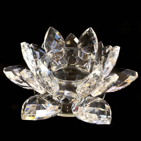 Castiçal de Vidro Transparente Flor de Lótus 13cm