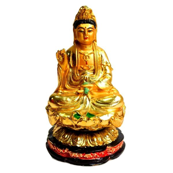 Estátua Deusa Kuan Yin Dourada Resina 11cm