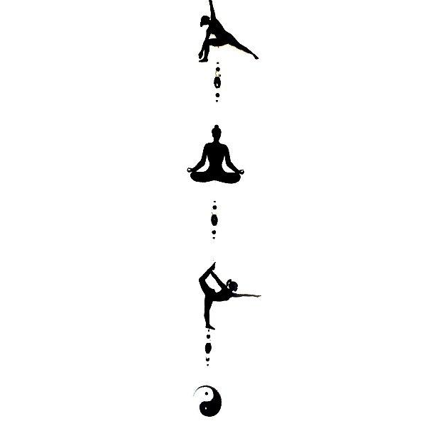 Fio de Luz Posições Yoga Yin Yang Preto Mobile