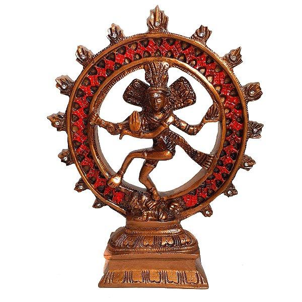 Shiva na Roda de Fogo Cor Bronze 20cm