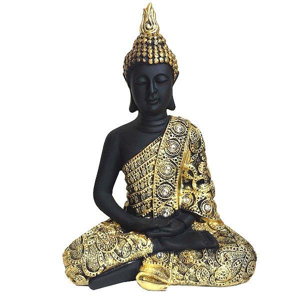 Buda Hindu Preto e Dourado 23,5cm