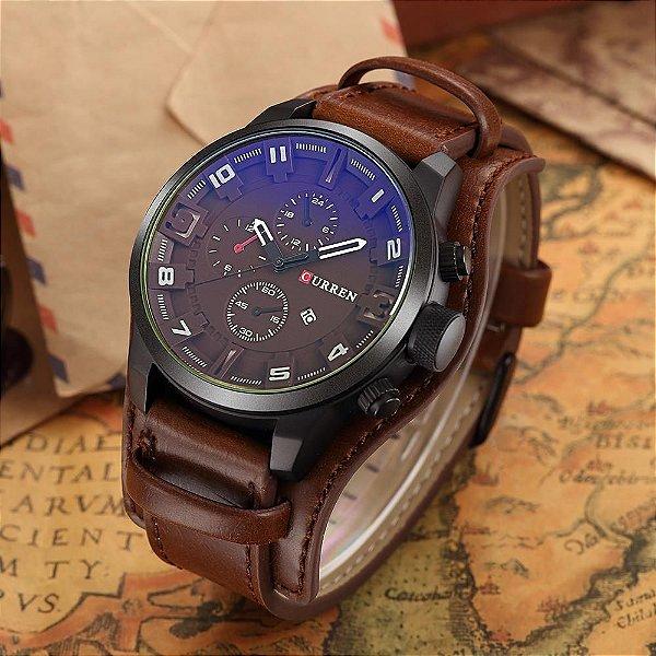 ec5b5e4b083 Relógio Curren Original Modelo 8225 Pulseira De Couro - Marron ...