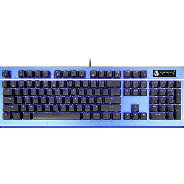 Teclado Mecânico Gamer Rgb Sades Sickle Alumínio Kailh Switch Azul