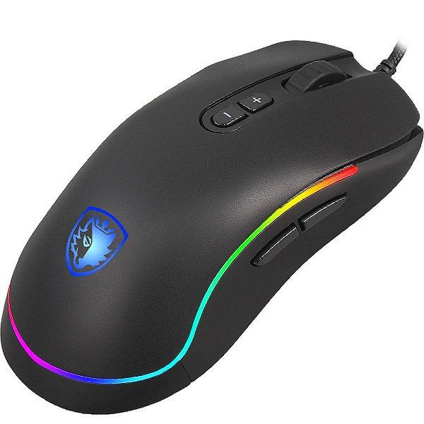Mouse Gamer Sades Revolver Rgb 9 Teclas Programáveis Macro Ambidestro