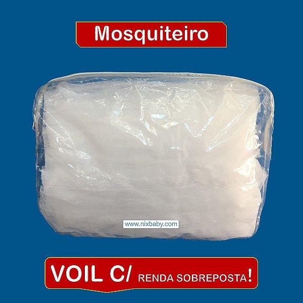 Mosquiteiro de Voil com Renda Sobreposta P/ Dossel de Parede