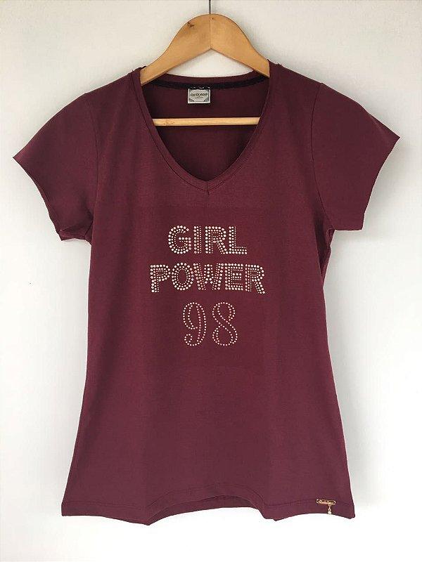 """T-SHIRT """"Girl Power"""" - Vinho"""