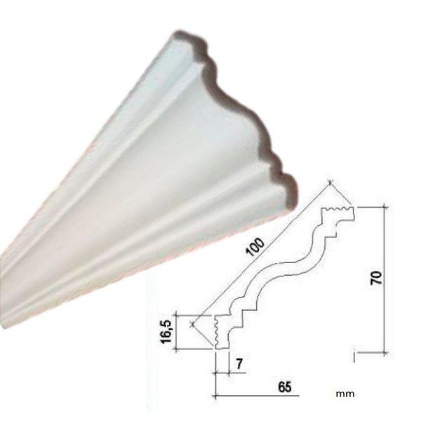 """Moldura RodaTeto de isopor modelo P100 """"Liso de fabrica"""" ( valor por metro )"""