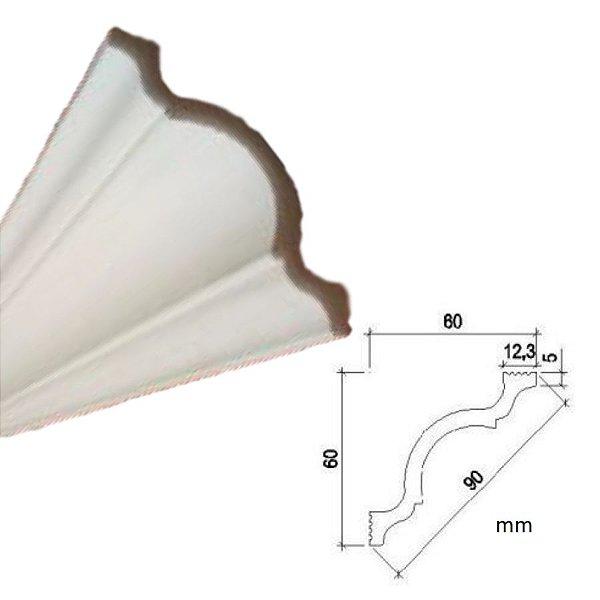 "Moldura RodaTeto de isopor modelo A90 ""Liso de fabrica"" ( valor por metro)"