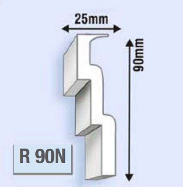 """Moldura RodaTeto de isopor modelo R90N """"Liso de fabrica"""" ( valor por metro )"""