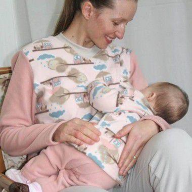 KIT - Blusa de Amamentação mais Conjunto de Microsofit bebe