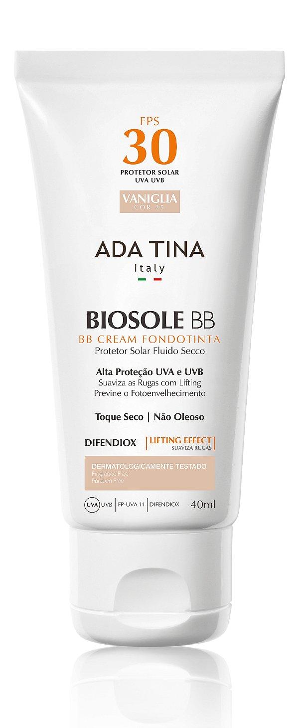 Ada Tina Biosole BB Cream FPS 30 Vaniglia Cor 25 - Protetor Solar Anti-Idade 40ml