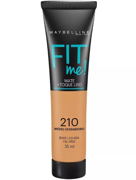 Maybelline Fit Me! Matte - Base Liquida, 210 Médio Verdadeiro 35ml