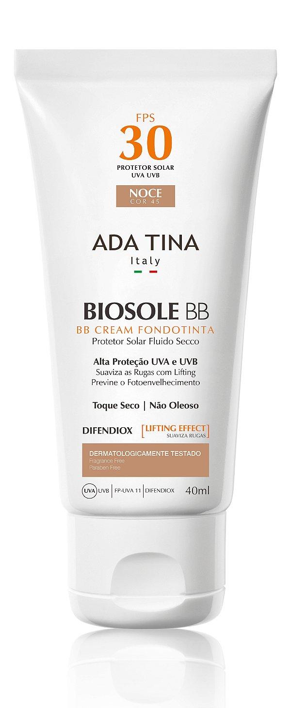 Ada Tina Biosole BB Cream FPS 30 Noce Cor 45 - Protetor Solar Anti-Idade 40ml