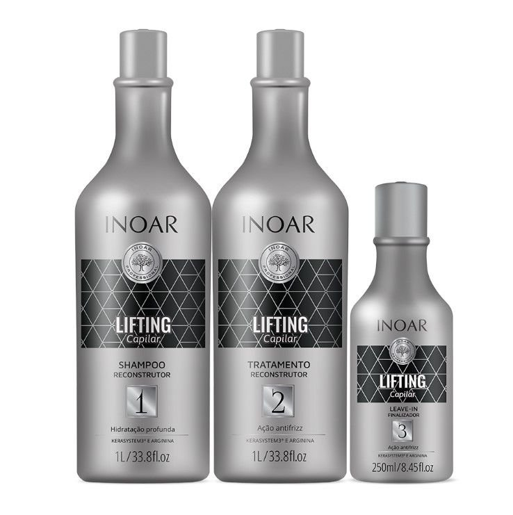 Inoar Kit Lifting Capilar - Shampoo e Tratamento 1000ml + Leave-in 250ml