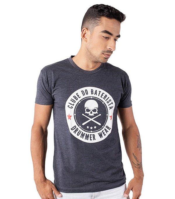 Camiseta Clube do Baterista - Drummer Wear Chumbo Mescla