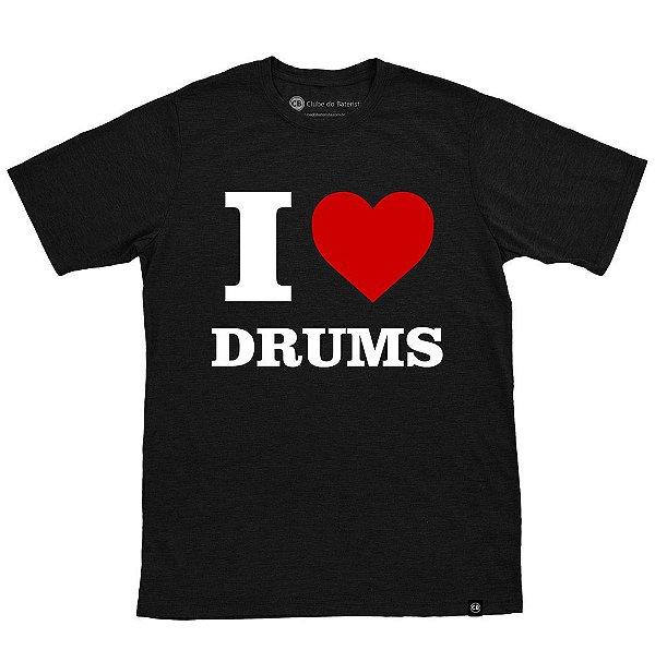 Camiseta I Love Drums Preta Masculina