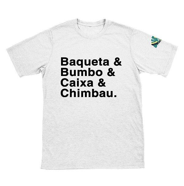 Camiseta Baqueta, Bumbo, Caixa e Chimbal - Coleção Vitor Lambert