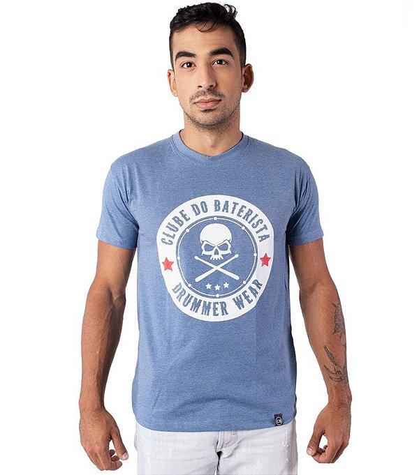Camiseta Clube do Baterista - Drummer Wear Azul Mescla