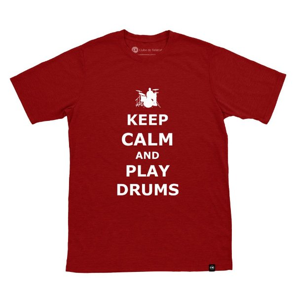 Camiseta Keep Calm And Play Drums Vinho