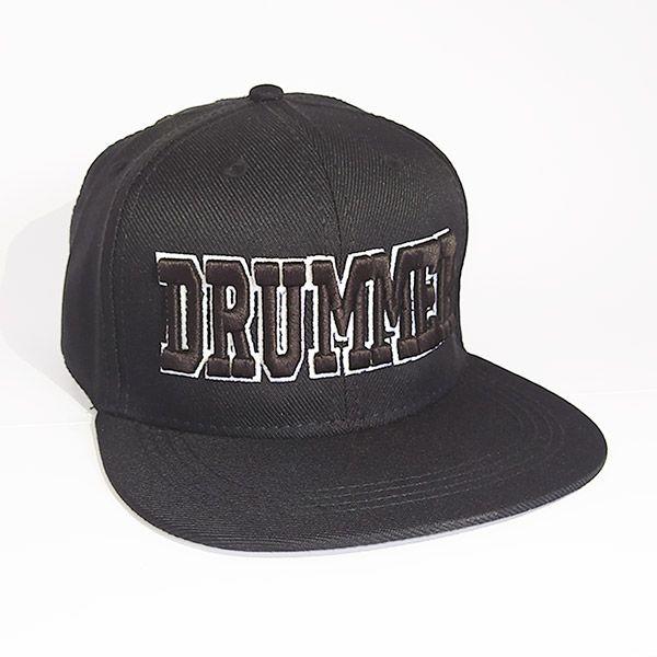 Boné Drummer Aba Reta Preto e Branco