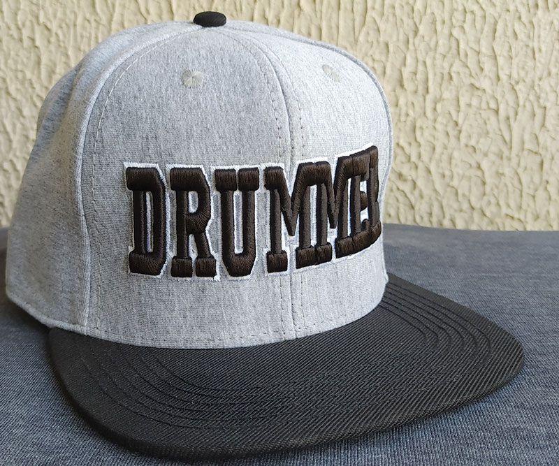 Boné Aba Reta Drummer Cinza Mescla e Preto Grande - Única unidade