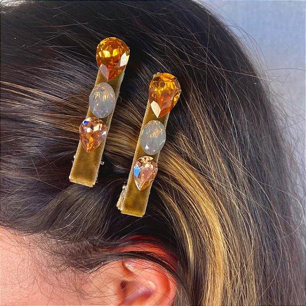 Hair Clips Victória Pedras  Douradas