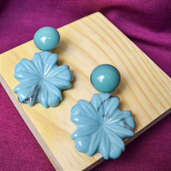 Brinco Botão Flor Pérola Azul Mescla