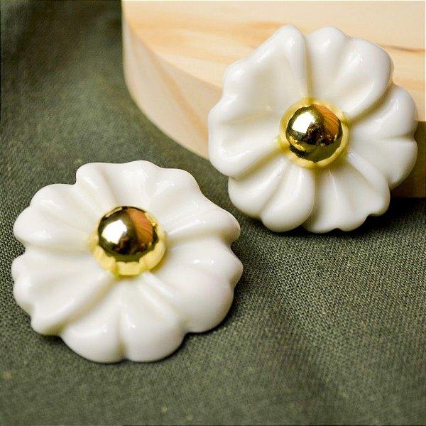 Brinco Flor Grande Off White