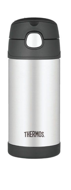 Garrafinha Térmica Funtainer Preto e Inox - Thermos