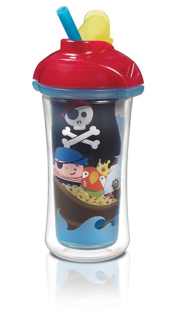 Copo Térmico Com Canudo - Sippy Azul Pirata