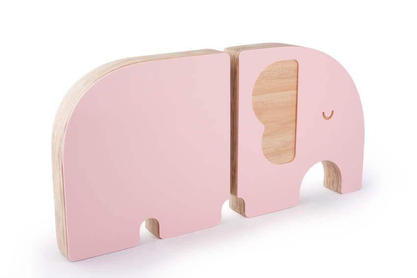 Aparador de Madeira para Livros Infantis Elefante Rosa - Adot