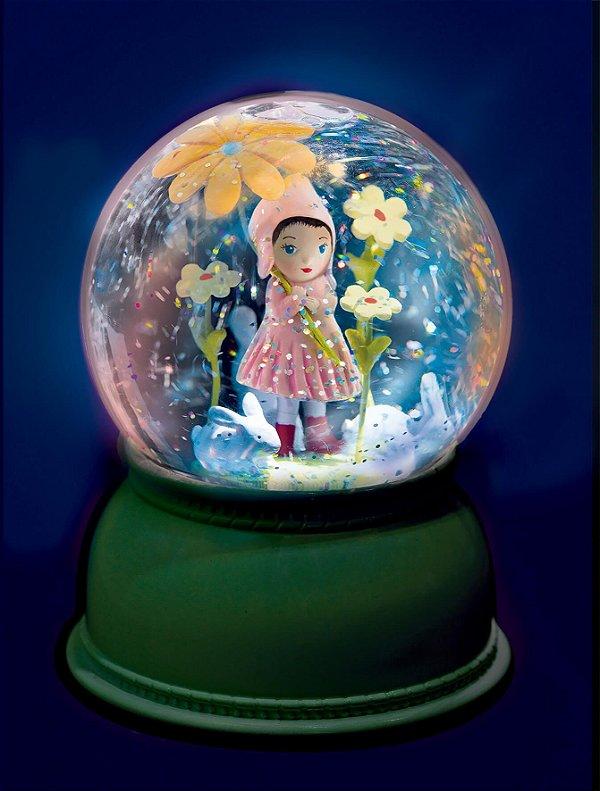 Luminária Bola de Neve Menina Flor - Djeco
