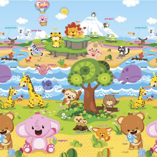 Tapete de Atividades Dupla Face Baby Play Mat Médio Animal Friends - Safety 1st