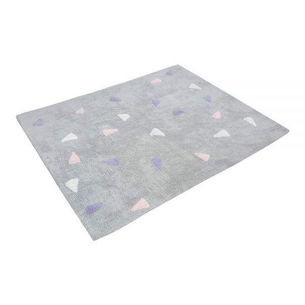 Tapete Infantil Confetti Cinza Tricolor Rosa- Nina & Co.