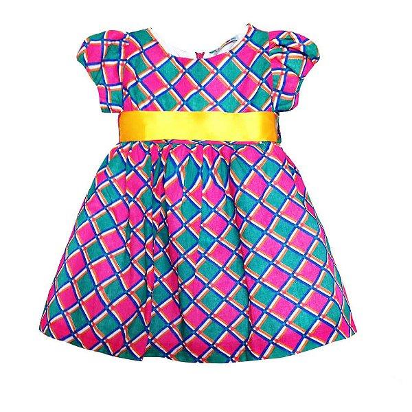Vestido De Festa Junina Xadrez Rosa Té Confecções