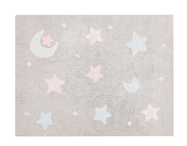 Tapete Infantil Sky Bege Rosa/Branco - Nina & Co.