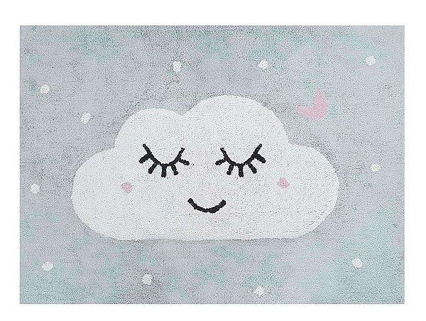 Tapete Infantil Nuvem , Cinza,rosa e Branco - Nina & Co.