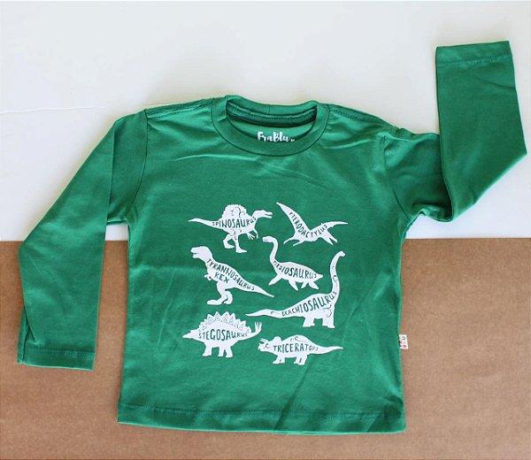 Camiseta  Verde Dinossauro manga longa