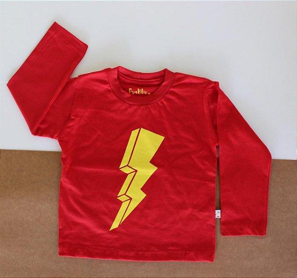 Camiseta vermelha flash manga longa