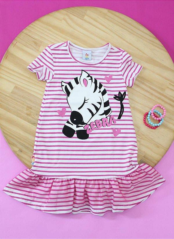 Vestido Zebra com tule Zigzigzaa