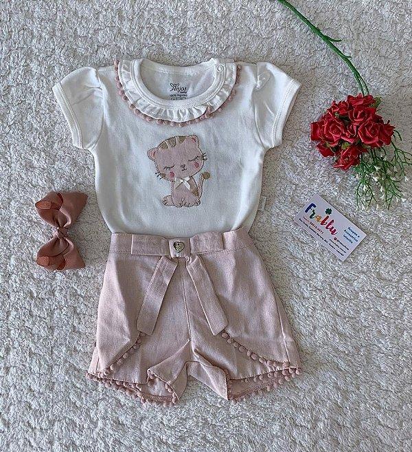 Conjunto blusa + short Anjos detalhe laço baby