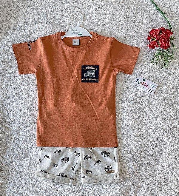 Conjunto blusa + short com detalhe animais Anjos baby