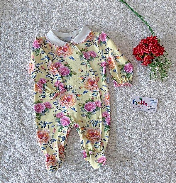 Macacão detalhes/flores Anjos baby