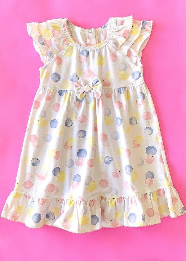 Vestido estampado/bolinhas/passarinhos Anjos baby
