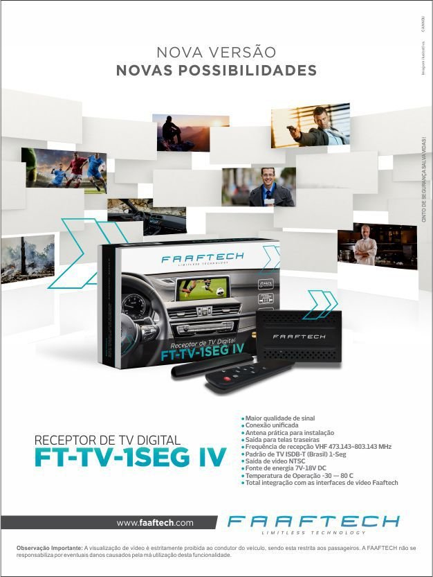 Receptor De TV Digital Automotivo Faaftech FT-TV-1SEG IV